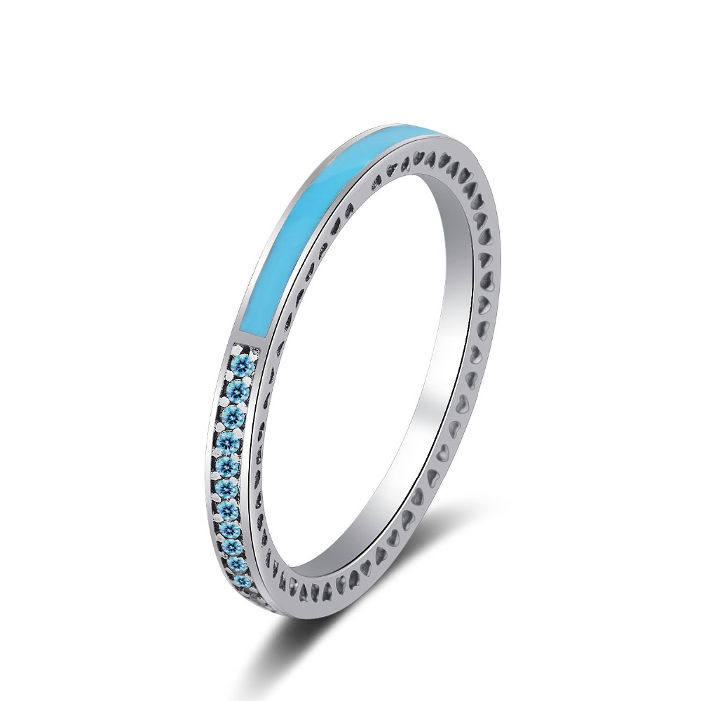 925 Silver Zircon Rings Women Half Full Exquisite Micro Pave Zircon and Color Enamel Ring for Women Engagement Wedding Jewelry in Rings from Jewelry Accessories