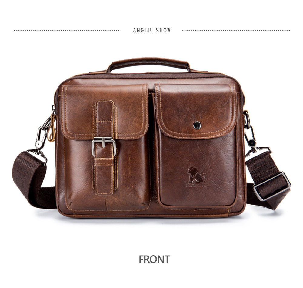 eb2d9b1d78b LAOSHIZI LUOSEN Genuine Leather Men s Shoulder Bag Vintage Male Handbags Messenger  Bags Men Business Crossbody Bag Handtasche