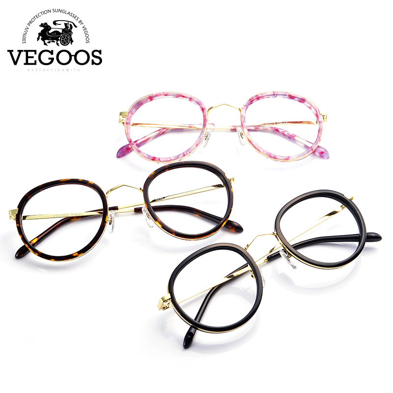 ᐂVegoos nuevo diseño de metal marco redondo retro mujer gafas ...