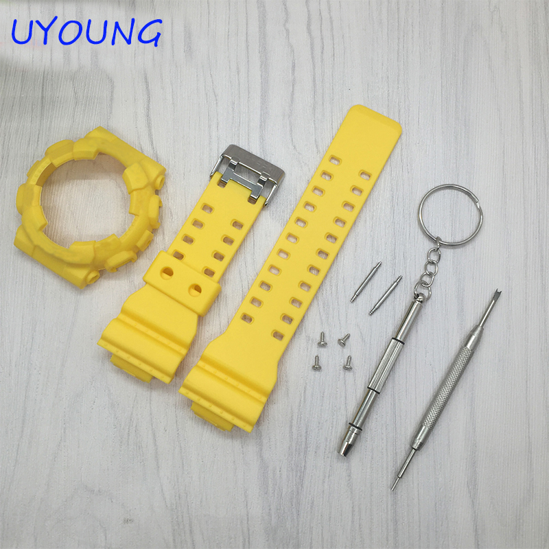 Quality Silicone Watchband 16mm Colorful Silicone Strap+Frame For GD-100/GA-100/GA-300/GA-110/GA-120/G-8900 watchband For Casio 1pcs 478 865pe ga 8ipe1000 g