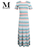 Micosoni Italian Knitted Bohemian Style 2019 Summer New Pullover Short Sleeve Stripes Inlaid with Gold Knitted Dresses Blue Pink