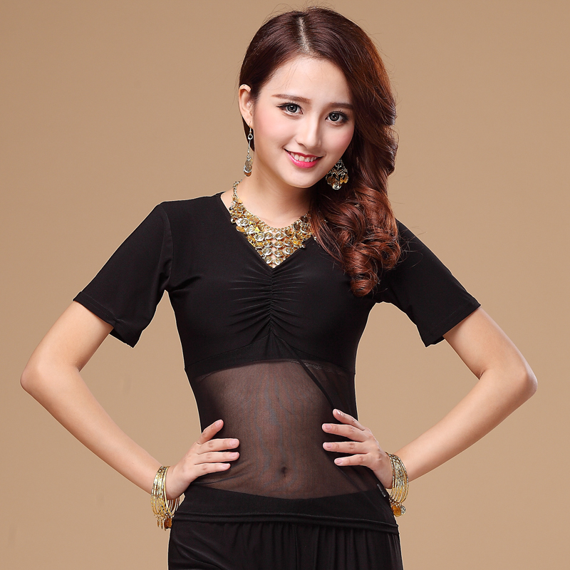 Belly Dance Costume Gauze Crystal Cotton Short Sleeves Belly Dance Jacket For Women Belly Dance Exercise Top 9kinds Of Colors