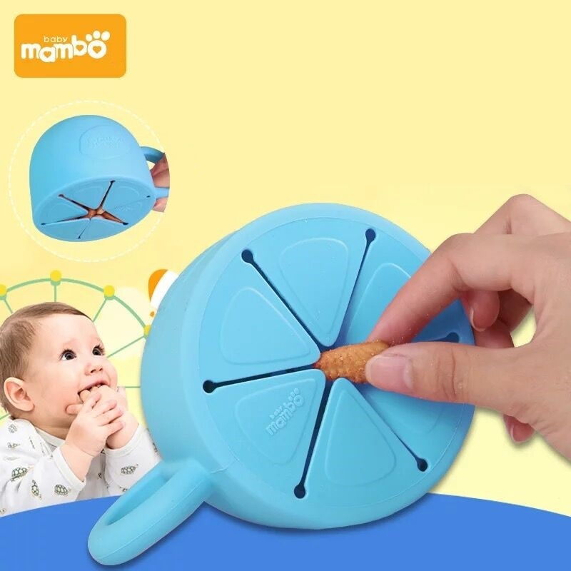 Baby Infant Bowl Snack dishes Silicone Cup Toddler Kid Feeding Food Bowl Handle Snack Storage Container