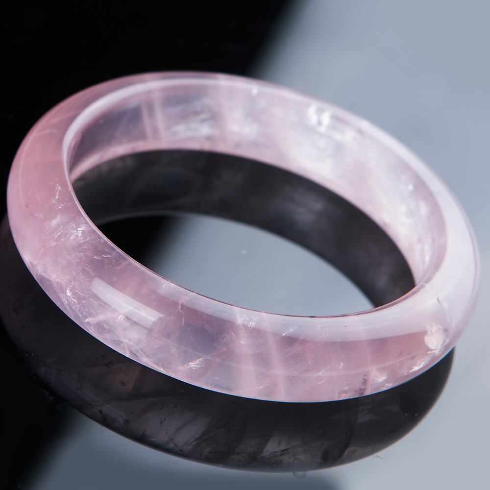 Top Quality Natural Rose Quartz Pink Gemstone Bangle Clear Stone Woman Love Fashion Bracelet Healing Stone 60mm AAAAA Jewelry in Bracelets Bangles from Jewelry Accessories