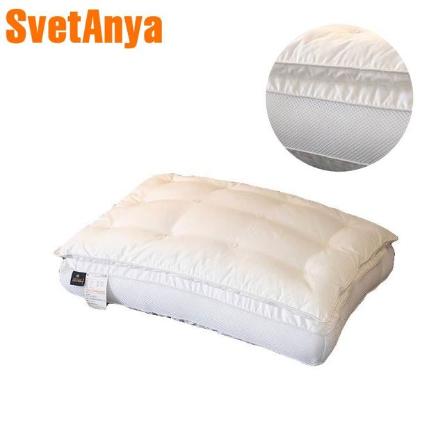 White Solid Double-deck thick Bed Pillows 48x74cm Cotton Polyester Filler Neck Pillow Massage Therapy Bedding Homeuse