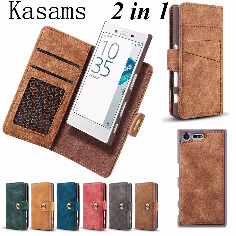 For Sony Xperia X Compact XZs XZ XR Phone Case Retro Separate 2 in 1 Magnetic Detachable Multifunction PU Leather Flip Cover