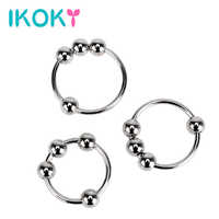 IKOKY Stainless Steel Various Sizes Penis Ring Delay Ejaculation Penis Sleeve Male Chastity Device Cock Ring Sex toys for Men
