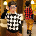 2017 spring and autumn child sweater casual plaid pullover boys sweaters o-neck long-sleeve cotton top 5a-2