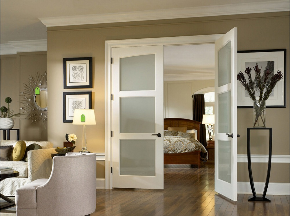 nuevo estilo de tres paneles cuadrados perfiles altamente durable de madera maciza puerta interior puerta