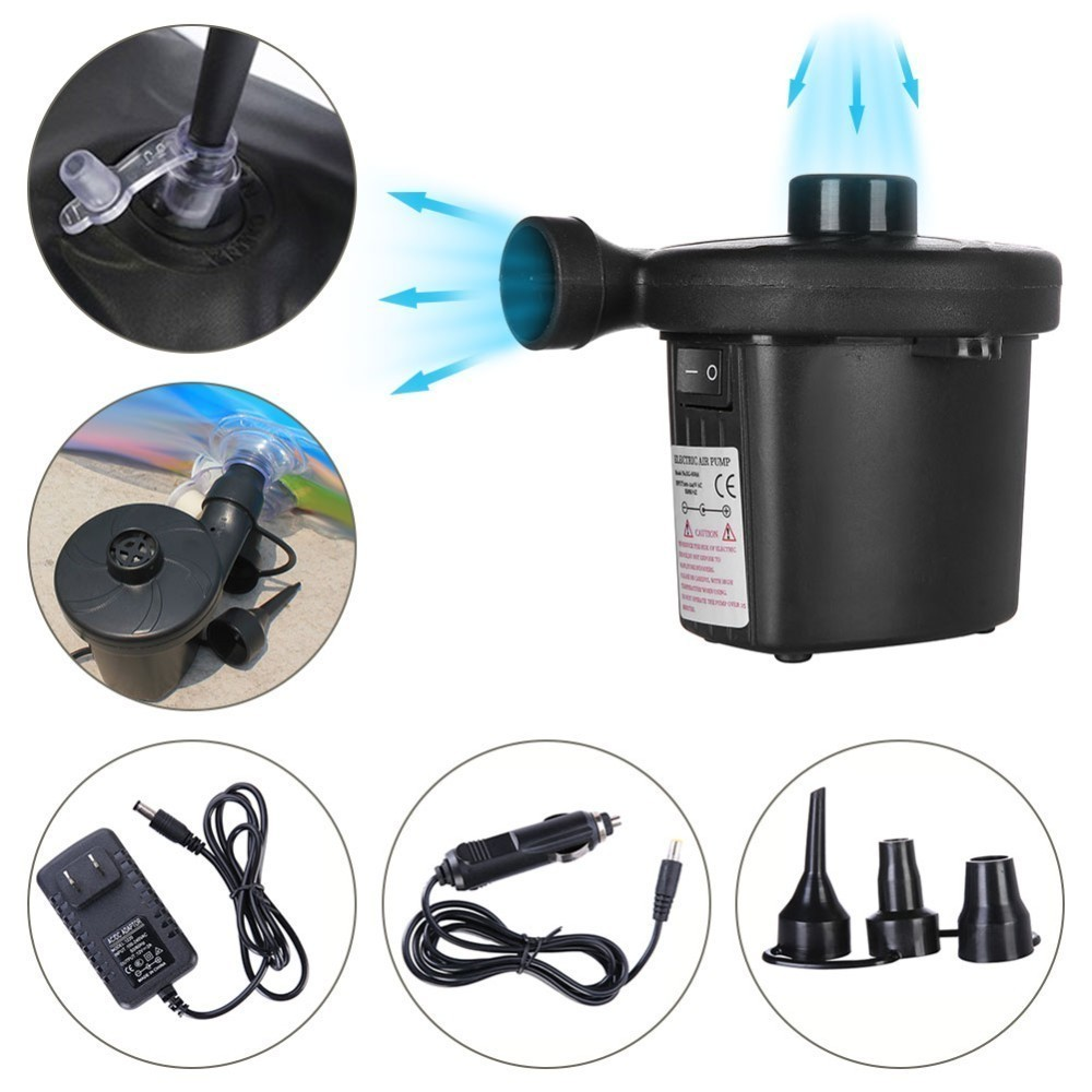 Electric Air Pump Nickel-Cadmium Battery Inflatable Air Pump Inflate Deflate Pumps Car Inflator Electropump With 3 Nozzles