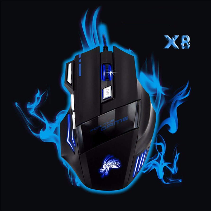 Realibale mouse gaming mouse 5500 DPI 7 Button LED Optical USB Wired Gaming Mouse Mice For Pro Gamer logitech g pro gamer gaming mouse 12000dpi rgb wired mouse official genuine usb gaming mice for windows 10 8 7