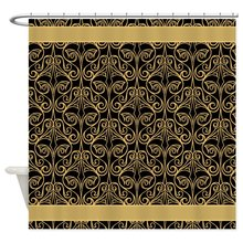 Black And Gold Damask Decorative Fabric Shower Curtain Bath Products Bathroom  Decor With Hooks Waterproof(