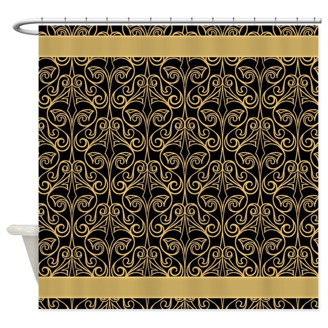 Attractive Black And Gold Damask Decorative Fabric Shower Curtain Bath Products Bathroom  Decor With Hooks Waterproof