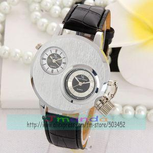 Image 3 - 100 teile/los V6 Silber Stahl Uhr Mode Männer Business Silikon Strap Zwei Bewegung herren uhren top marke luxus
