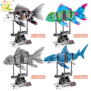 Image 2 - HUIQIBAO 342Pcs Simulated Animal Fish DIY Model Building Blocks Sets Technic Ideas City Bricks Educational Toys for Children Boy