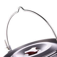 5L Camping Cooking Pots with Lid Outdoor Cookware Picnic Hanging Pot Aluminum Alloy Pan for Stove