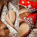 Bomba Koovan 2016 Deslizador de Cristal de Novia Zapatos de Boda Mujer Rhinstone Encaje Hecho A Mano de Diamante de tacón alto Zapatos de Las Mujeres de Cuero