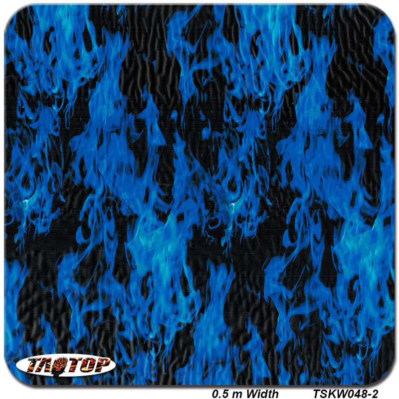 TSKW048-2 pattern blue flame fire Hydrographic Film PVA Water Transfer Printing Film