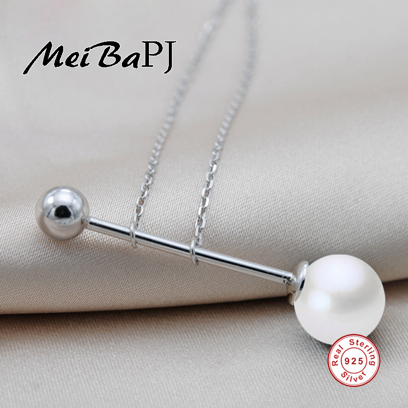 [MeiBaPJ]925 Sterling Silver Pearl Pendant Necklace Mosaic round Jewelry Real Freshwater Pearl Charm Fine Accessaries