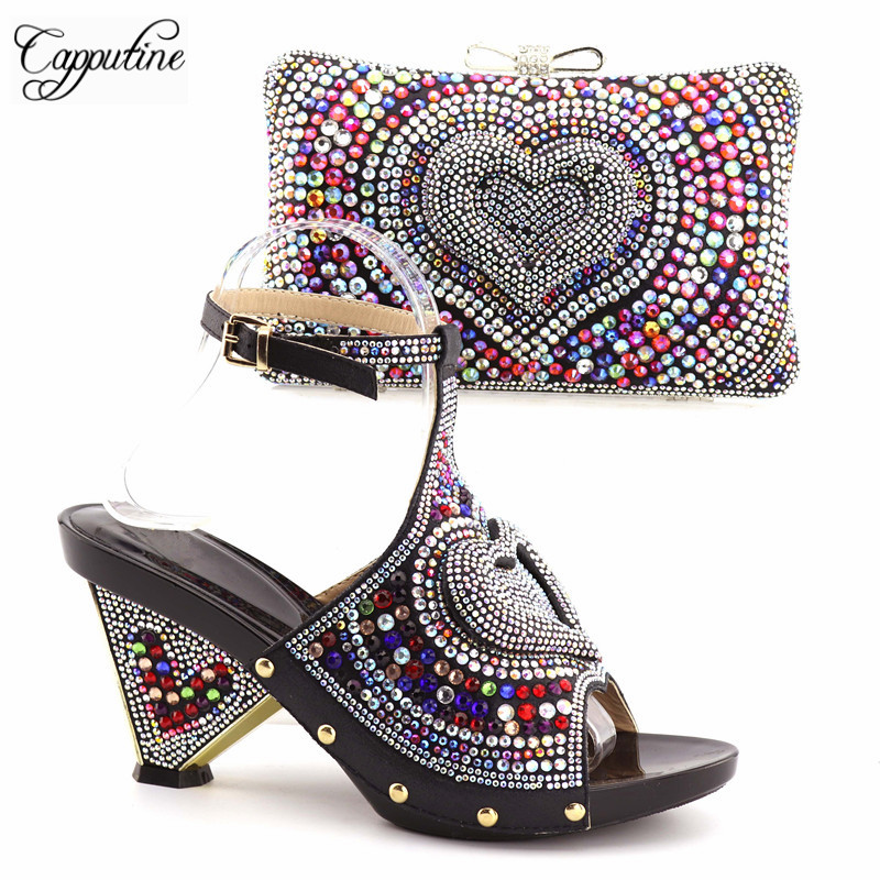 Capputine Hot Sale Rhinestone Ladies Shoes And Bag Set Fashion Italian High Heels Shoes And Bag Set For Party Free Shipping capputine italian design rhinestone shoes and bag set africa fashion high heels shoes and bag for wedding party free shipping