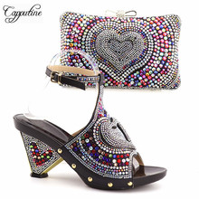 Capputine Hot Sale Rhinestone Ladies Shoes And Bag Set Fashion Italian High Heels Shoes And Bag Set For Party Free Shipping