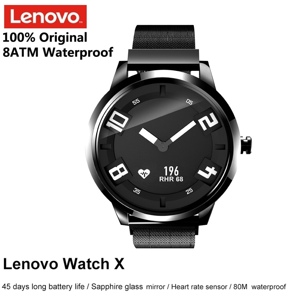 Lenovo Watch X Bluetooth Waterproof Smartwatch Gesture photography 8ATM Waterproof Sleep Heart Rate Monitor Support iOS Android