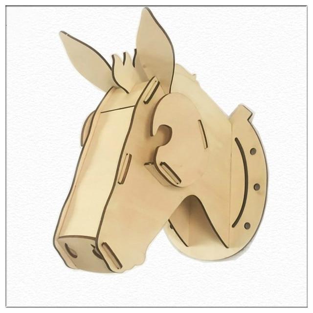 New Arrived 3D Wooden Horse Head Wall Hanger Crafts Art Coffee Bar ...