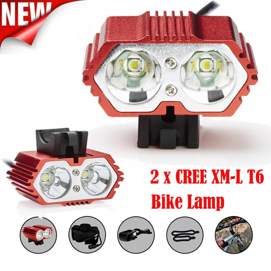 цена на 2x XM-L T6 3-Mode LED 8000 Lm Cycling Bicycle Bike Front Lamp Light Headlight Light Charger 8.4 V 6400mAh battery Pack P40