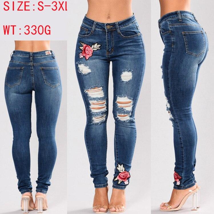 a3e1bd21b 2017 cross border moda na Europa e América Amazon Wish venda de cintura alta  calças jeans stretch buraco Denim Bordado em Calças de brim de Roupas das  ...