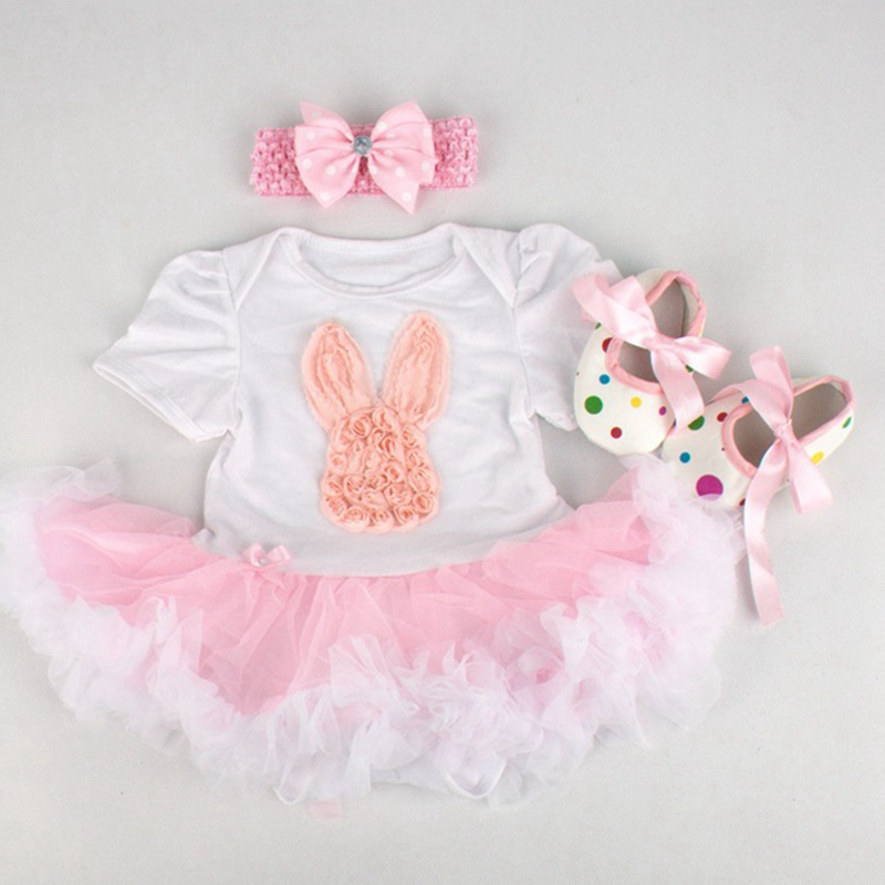 7d3afe310 Happy Easter Hare Ropa Bebe Lace Bodysuit Dress Crib Shoes Headband ...