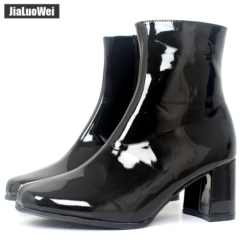 jialuowei New Fashion Square Toe Zip Women Boots Ladies Square Block High Heel Cheerlead Vintage Classic Ankle Boots Plus Size nikove 2018 zippers solid women boots vintage style ankle boots square high heel square toe ladies fashion boots size 34 39