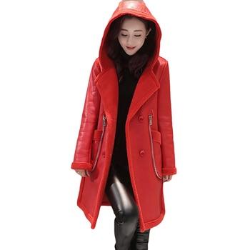 New Lagr Size Women Outwear Winter Leather Jacket Plus Velvet Thick Warm Overcoat Hooded Wool Liner Sheep Leather Coat LJ0628