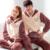 Os Amantes de inverno Casal Pijama Salão Set-Manga Longa Feminina Espessamento Velo Coral Sleepwear Pullover Roupa Interior