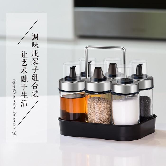 Houmaid kitchen accessories leakproof seasoning storage jars set vinegar sauce oil spice pepper salt bottles with