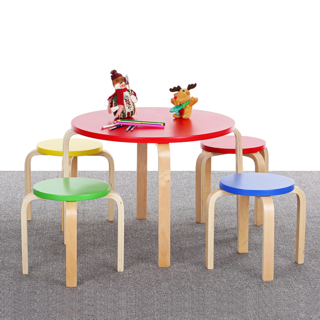 iKayaa Cute Solid Wood Round Kids Table and 4 Chairs Set Furniture 50KG Load Capacity Toddler Children Activity Table Set