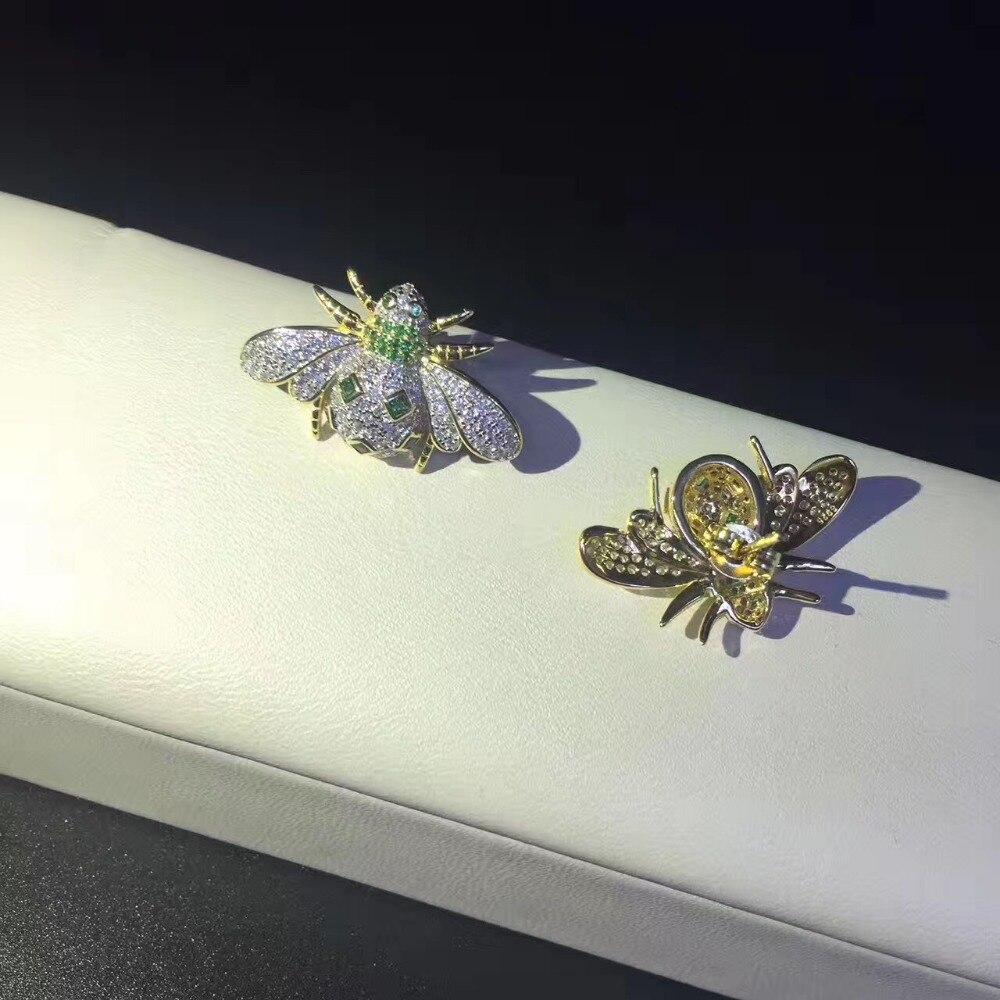Bijoux fins 925 en argent sterling abeille stud boucle d'oreille livraison gratuite de haute qualité
