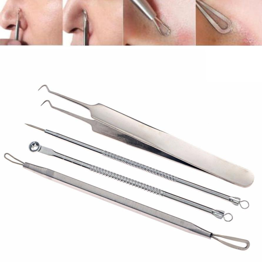 New 4Pcs Women Stainless Steel Blackhead Facial Acne Spot Pimple Remover Extractor Tool Comedone se25