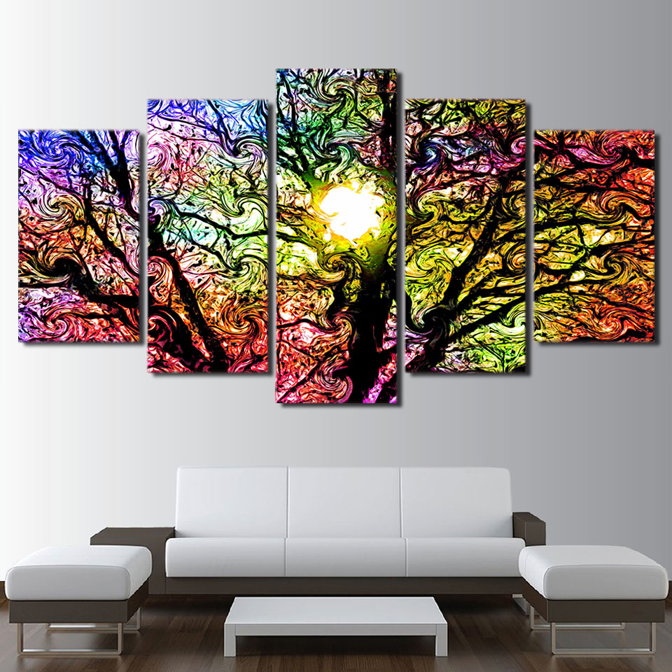 5 Piece Colorful Sun Tree Poster Canvas Painting Home ...