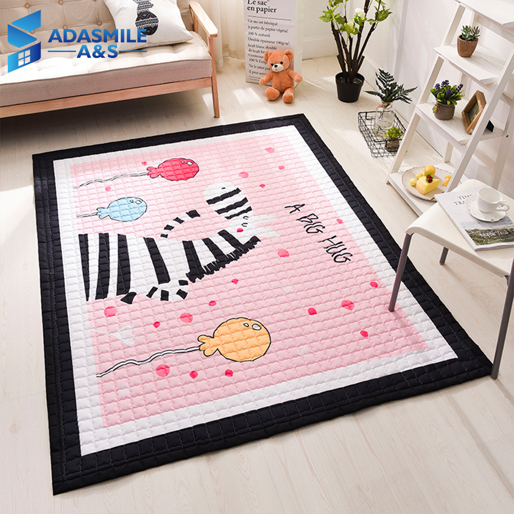 US $53.42 32% OFF|Nordic Kids Room Rug Carpet Quilted Tatami Mat Area Rug  Bedroom Cartoon Pink Zebra Crawling Play Mat Living Room Carpets-in Carpet  ...