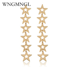 WNGMNGL Exaggeration Long Statement Earrings Gold Silver Color Drop Earrings Simple Star Dangle Earrings Jewelry For Women Gift gold color with star hotpink butterfly star drop earrings