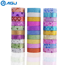 AAGU 30PCS Colorful Glitter Washi Tape 10PCS Solid Color 20 Random Colors Masking Tape DIY Sticker