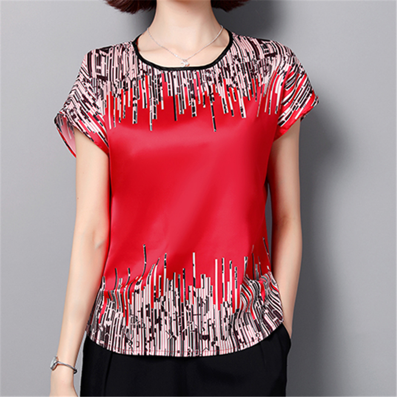 2019 New Fashion Women Tops And Blouses Short Sleeve O Neck Korean Print Casual Office Work Lady Chiffon Plus Size Shirts Blusas(China)