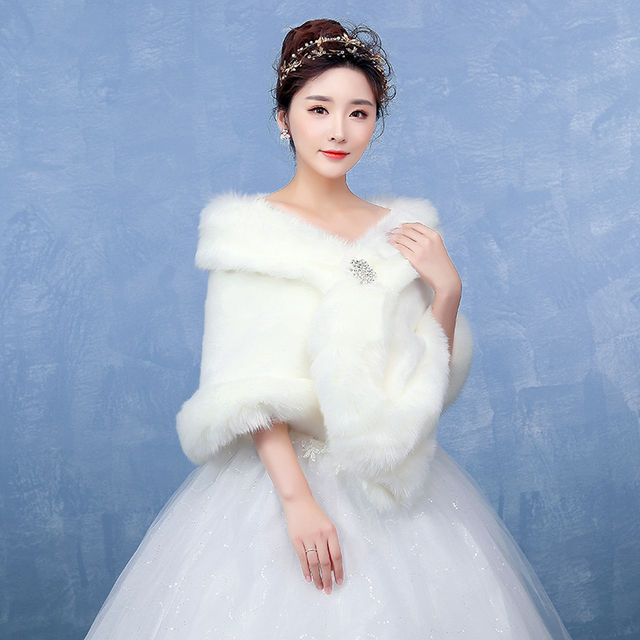 1a0b23ce811 Bolero Ivory Bridal Wraps Winter Wedding Cape Free Shipping Faux Fur  Elegant Ladies Evening Jackets Wedding