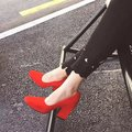 Women Classical Pumps Square Toe Zapatos Mujer Tacon All-match High Heeled Shoes Woman Stilettos Red Royal Blue Retro Female
