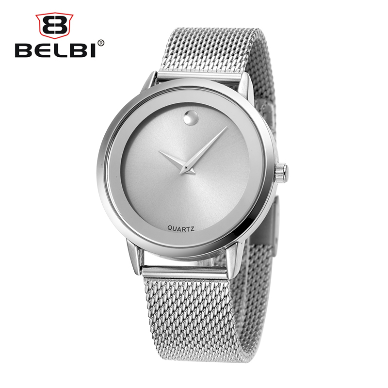 2016 Belbi Simple Style Steel Mesh Quartz Men Women Watch Ladies - Relojes para hombres