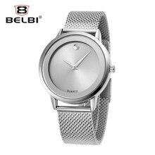 2016 Belbi Estilo Simple Malla De Acero Cuarzo de Los Hombres Reloj de Las Mujeres Damas Impermeable Reloj de La Manera Relojes de Lujo Relojes de Oro