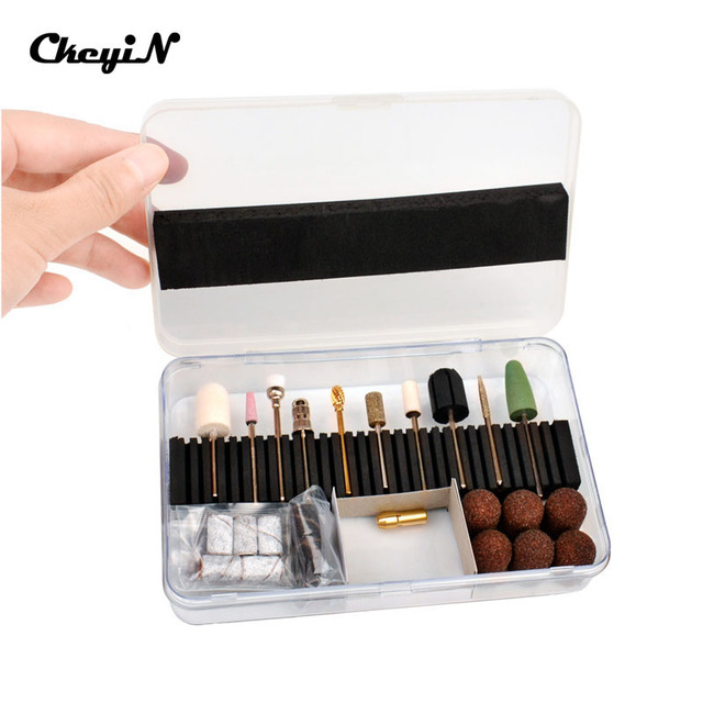 "CkeyiN 32Pc 3/32"" Shank Size Nail Drill Bit & Sanding Bands+30Pc Nail File Polish Bit Professional Manicure Pedicure Tools Sets"