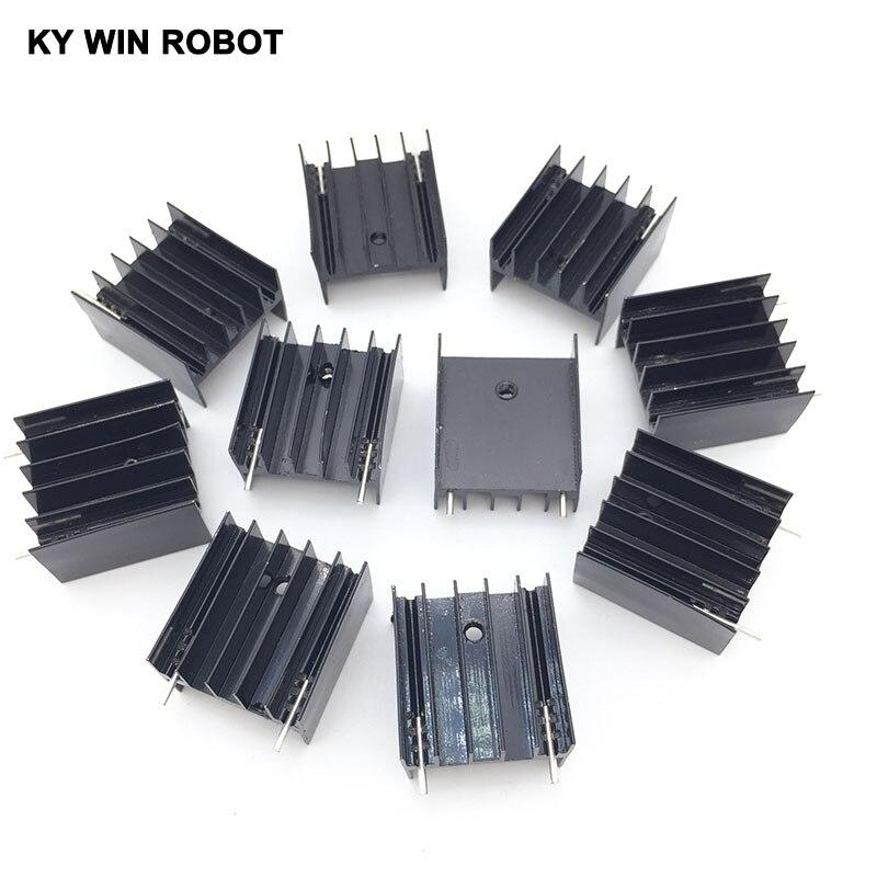 10 шт. Бесплатная доставка алюминия-220 радиатор до 220 радиатор транзистор радиатор TO220 охлаждения Cooler 25*23*16 мм с 2Pin ...