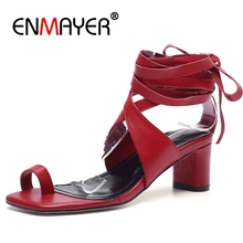 ENMAYER 2018 New Arrival Bandage Sandals For girls Women shoes Lace On the High Heel Summer Shoes Roman style Black Red CR306