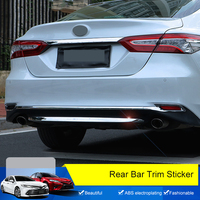 QHCP ABS Eletroplating Car Rear Bumpers Trim Sticker Door Tailgate Frame Bottom Trunk Plate Cover Special For Toyota Camry 2018